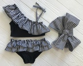 Little Girls Bathing Suit Baby shower gift Bathing Suit babies Black Costume Baby bikini bottom Two Piece bathing suit Swim
