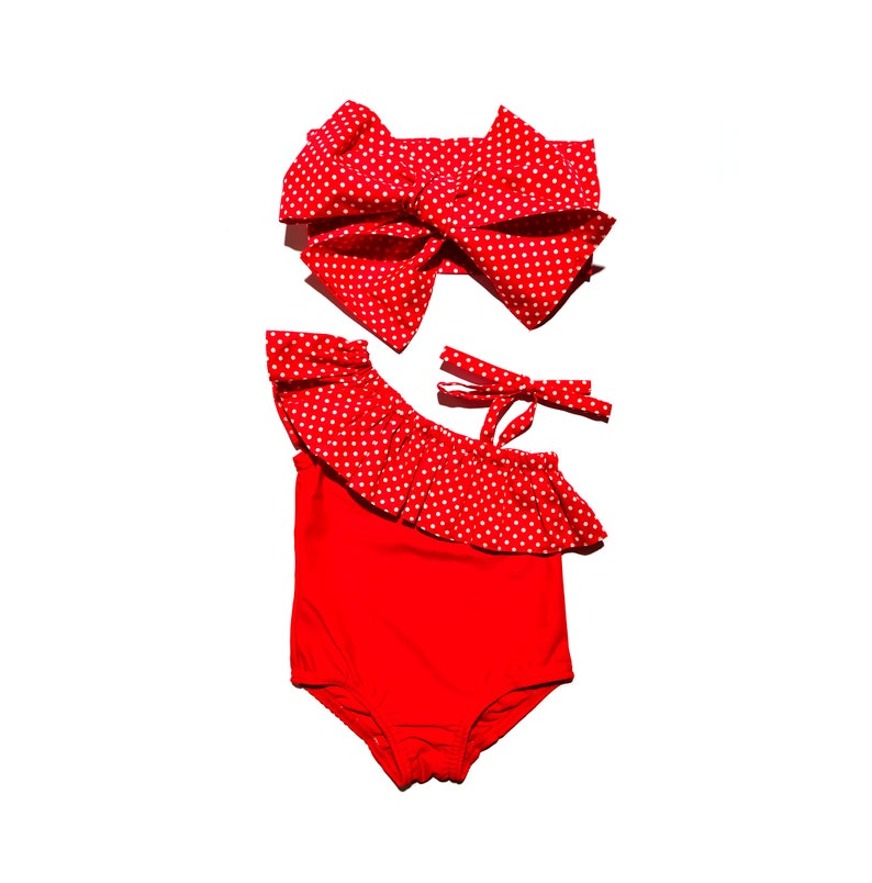 ddd9e7312ee8 Red dots 0M-6T Swimsuit Babygirl swimsuit Girls swimsuit Baby