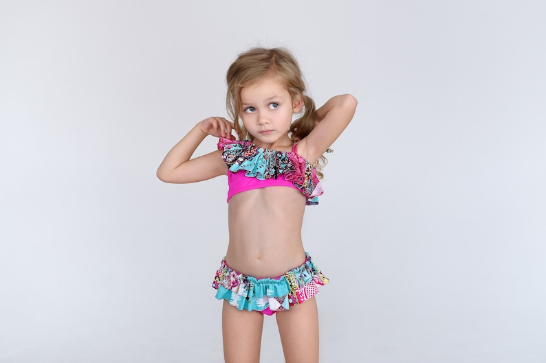 2b58382493f12 Two piece swimsuit Pink ruffle top Girl bikini Baby gift