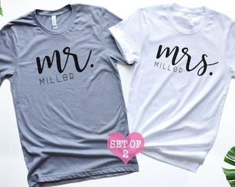 98809fb8d6 Mr and Mrs Shirt, Custom Mr and Mrs Shirts, Honeymoon Shirts, Bride and  Groom Shirt, Customized Couples shirt,