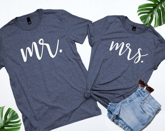 c2c47398a Mr and Mrs Shirt Set, Honeymoon shirts, Mr and Mrs T-shirts, Wife Shirt,  Wedding gifts, Couples shirts, Wedding shirts