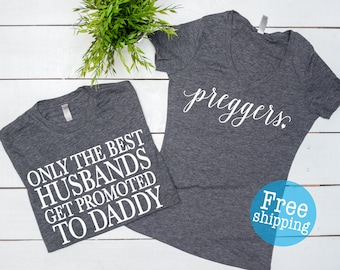 Pregnancy Shirt, Pregnancy announcement,Only the best husbands get promoted to daddy, Preggo shirt, Baby Announcement, Baby Shower gift