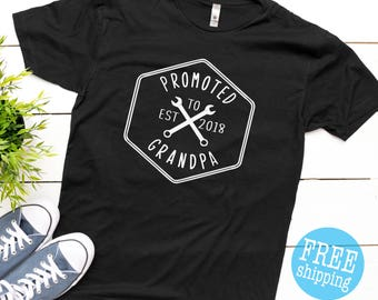Promoted to Grandpa ©  Pregnancy Announcement,Pregnancy Announcement shirt to grandparents, Best Grandpa Ever, Grandpa Shirt, Future Grandpa