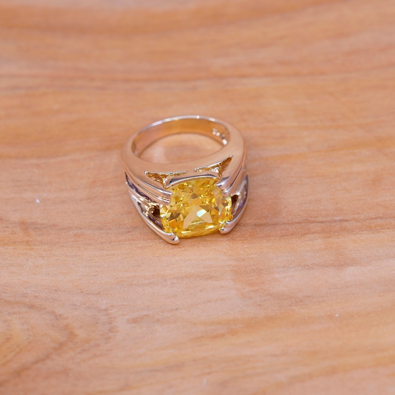 vintage vermeil gold over Sterling silver handmade ring Size 6 Stamped 925 modern 925 silver with citrine