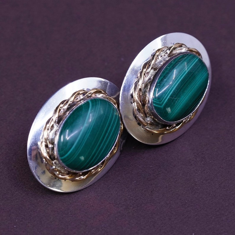 Stamped VHC S Sterling silver handmade earrings Vintage southwestern 925 silver studs with oval malachite and 14K GF cable around 300664