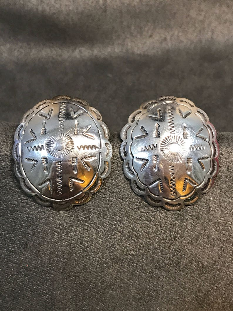 signed 56 300233 mexico jewelry stamped mexico 925 Vintage Sterling silver handmade earrings solid 925 silver studs