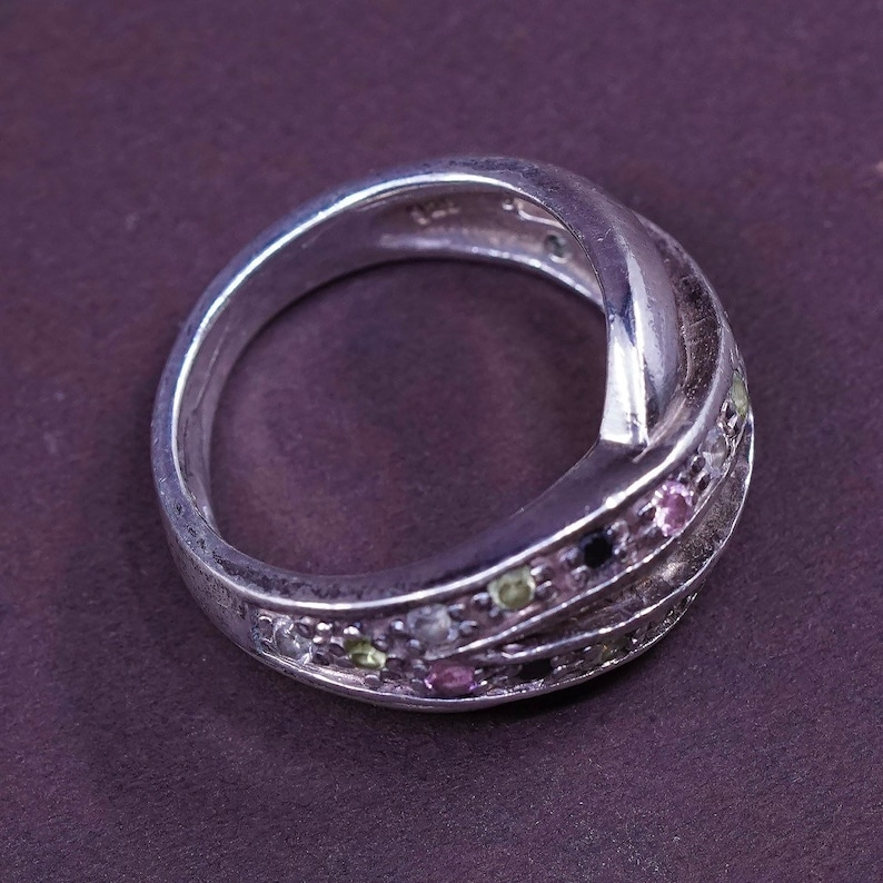 Size 6.75 310665 solid 925 silver band with cluster cz stamped 925 Sterling silver anniversary ring vintage