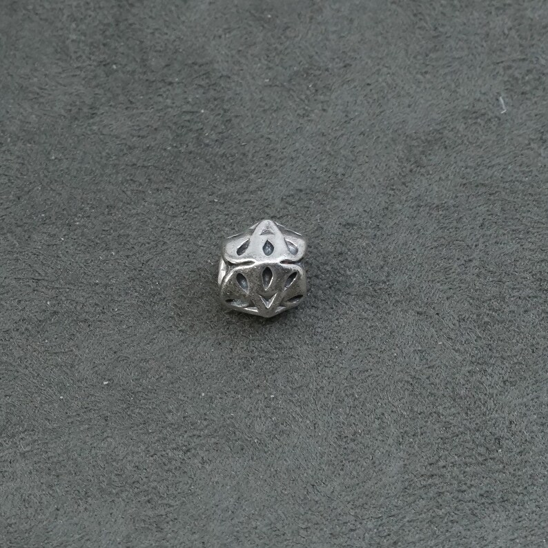 Vintage solid 925 silver sand dollar bead charm stamped 925 Sterling silver handmade pendant 320926