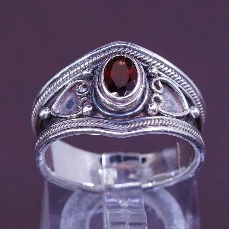 silver tested 310704 Size 7 solid 925 band with ruby and Bali Sterling silver handmade ring vintage