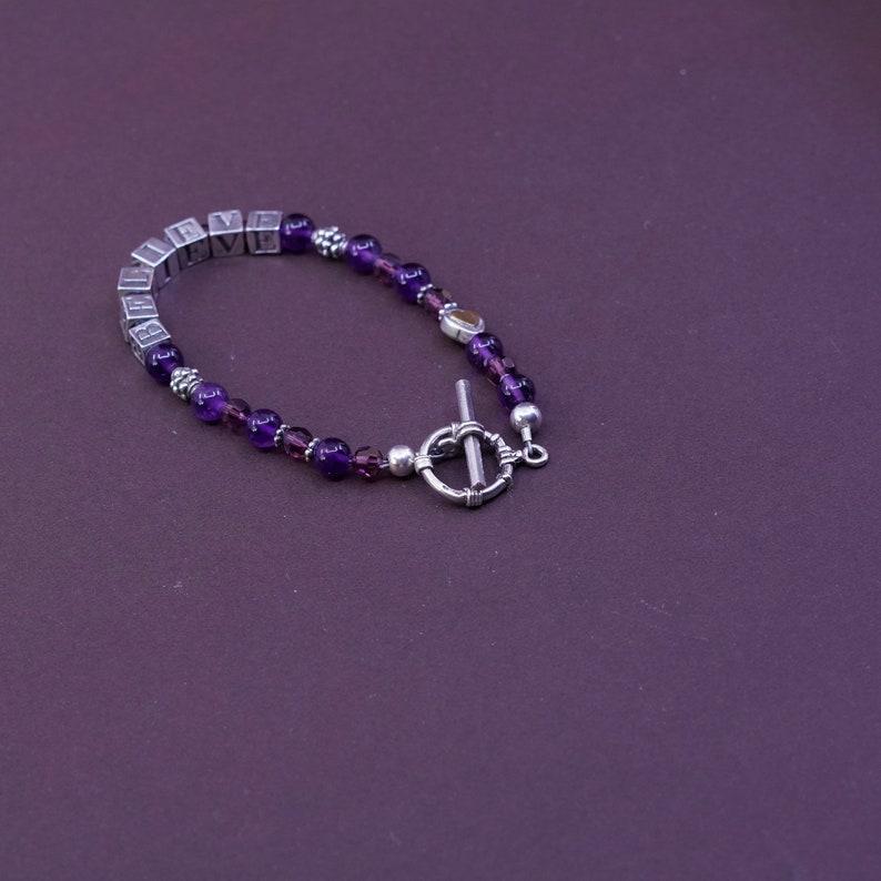 Vintage Sterling 925 silver handmade bracelet amethyst beads with \u201cbelieve\u201d cubes stamped 925 6.75\u201d