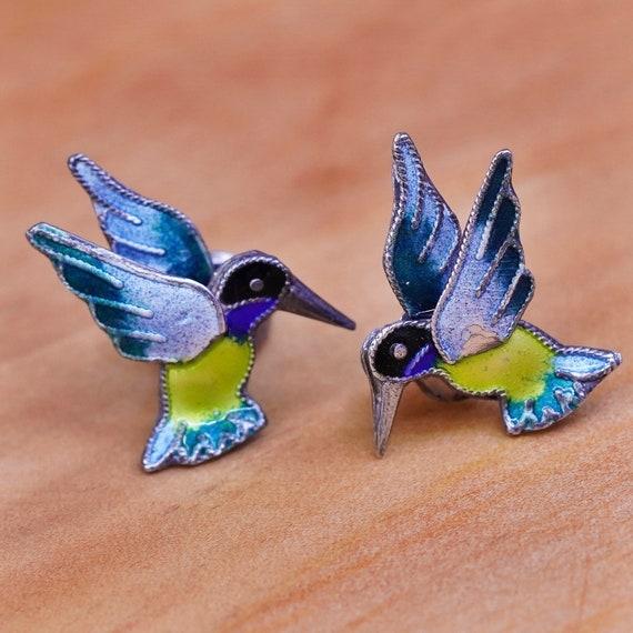 Vintage Blue /& Lavender Enamel Pin In Sterling Silver Scandinavian Jewelry Bird Lapel Pin Brooch Pin Small Hummingbird Brooch