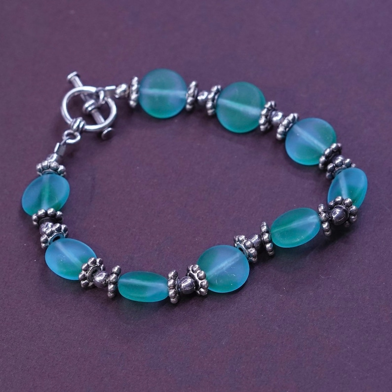 Vintage handmade 6 solid 925 silver clasp with green glass bracelet silver tested 330732 bracelet