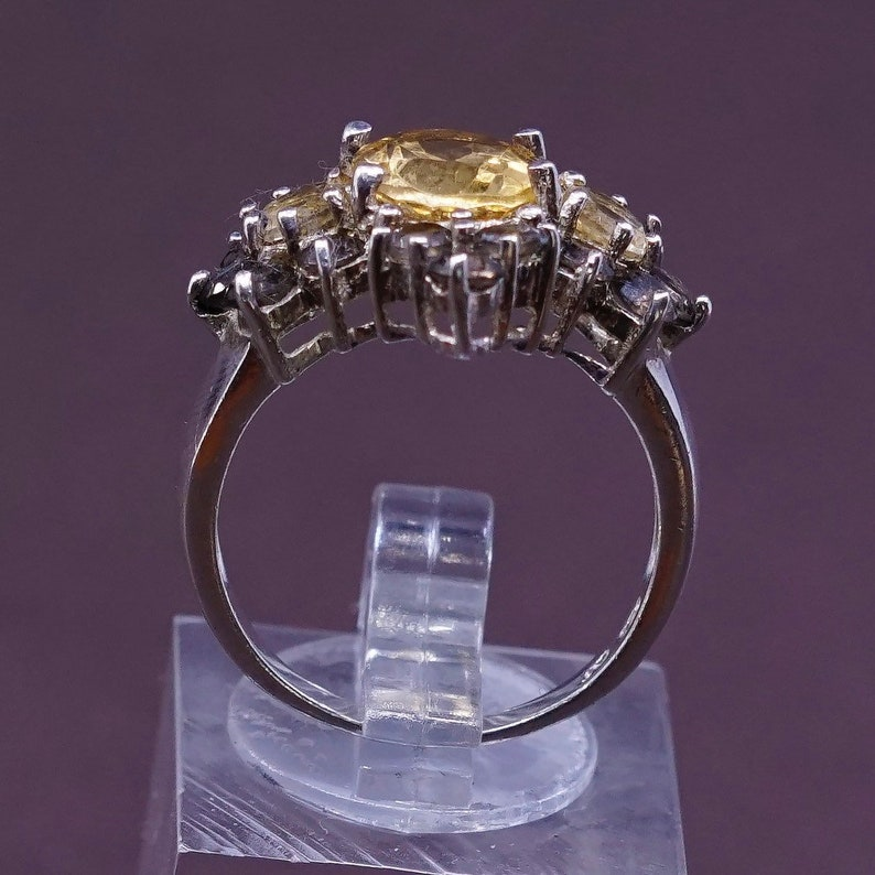stamped 925 Size 7.75 vintage solid 925 silver with cluster citrine Sterling silver handmade statement ring 310110