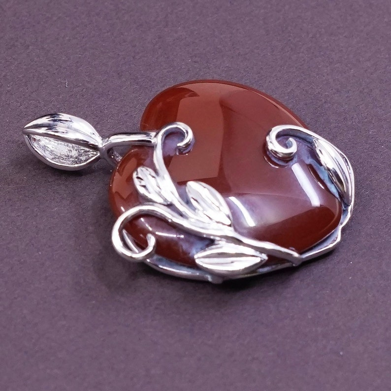 Vintage Sterling silver pendant the dirt can be removed wi 320048 stamped 925 JAD solid 925 silver vine and leaves with carnelian heart