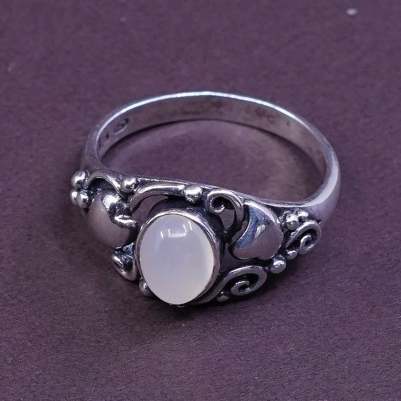solid 925 silver with white tiger eye stone and beads detail Stamped 925 vintage Sterling silver handmade ring 310067 Size 8.5