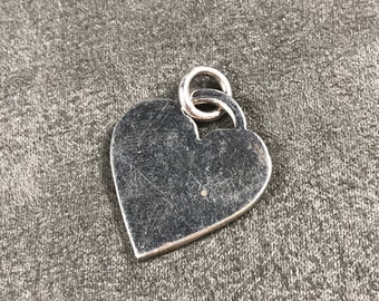 Vintage Sterling silver handmade charm, solid Mexico 925 silver heart pendant, stamped 925