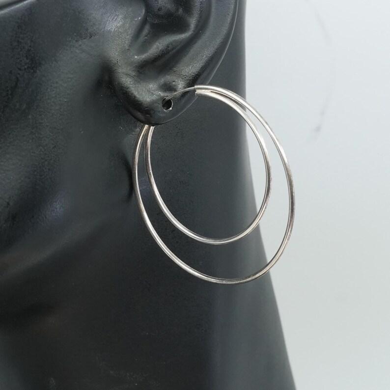 solid 925 silver hoops stamped 925 italy 300165 vintage 1.75 Sterling silver handmade earrings