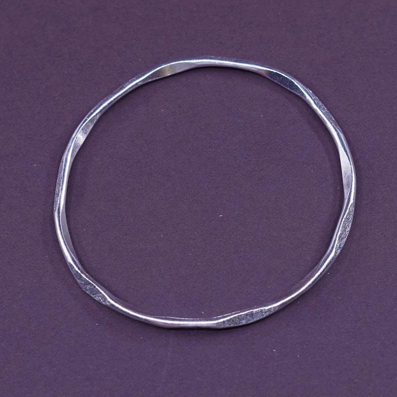 Sterling silver handmade bracelet 7.25 Vintage 330586 stackable bangle solid Southwestern hammered 925 silver cuff stamped sterling