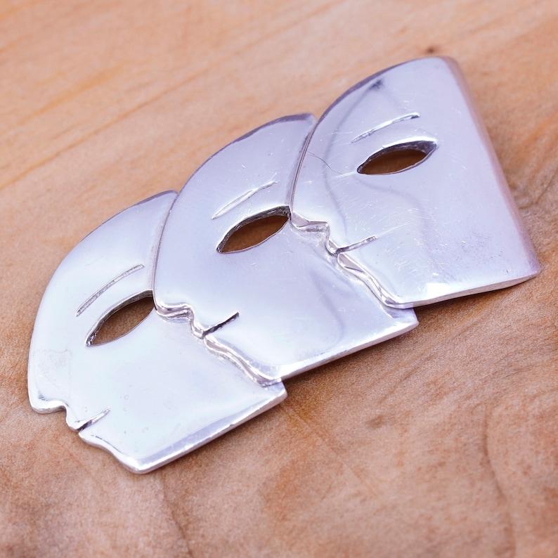 Vintage handmade sterling 925 silver face brooch silver tested