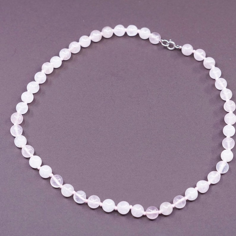 pink quartz beads with 925 silver clasp vintage sterling silver handmade necklace 18\u201d stamped 925
