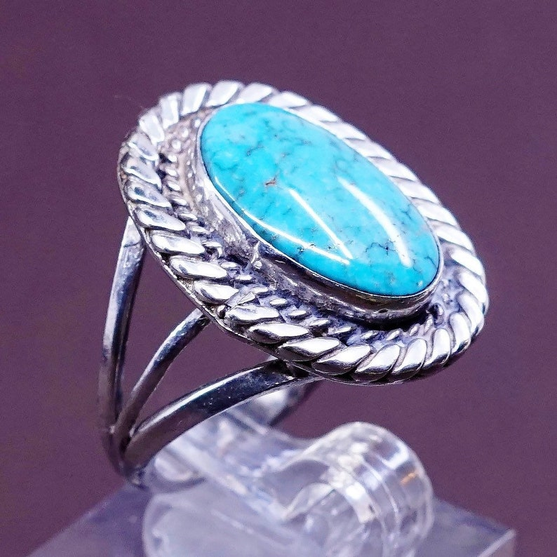 solid 925 silver with turquoise stone Size 6.5 Sterling silver handmade ring 310040 vintage stamped handmade sterling