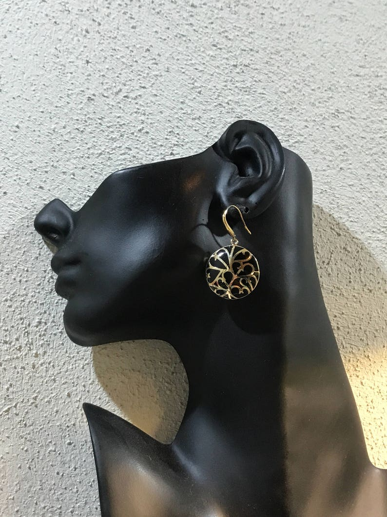 gold over sterling silver handmade earrings 300377 solid 925 silver circle shaped drops with obsidian inlay details Vintage stamped 925,