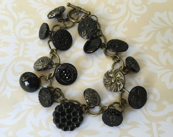 Antique and Vintage Button Bracelet, Black and Gold Glass Buttons, Charm Bracelet, Victorian Buttons