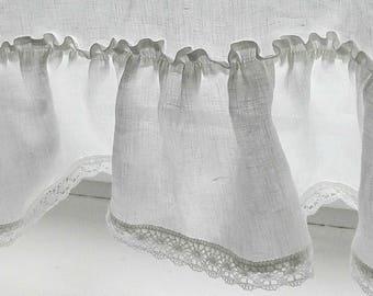 White cafe curtain.RUFFLED CAFE curtain.curtain with lace .Linen curtain. White Linen curtains /white kitchen curtain .RUFFLED linen curtain