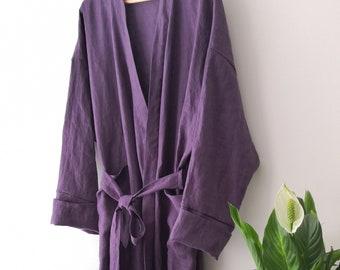 "XS- 6XL. Linen Men""s robe / Stonewashed linen /Organic linen robe/linen bath robe/linen robe /by AnBerlinen/leinen bademantel/LINEN"