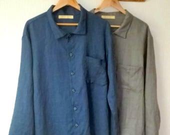f681d01855e368 Herren Nachtwäsche. Herren Leinen nach Hause tragen. Leinen pajamas.mens  pajamas.mens shirt.mens Pyjama grau. Geschenk für ihn