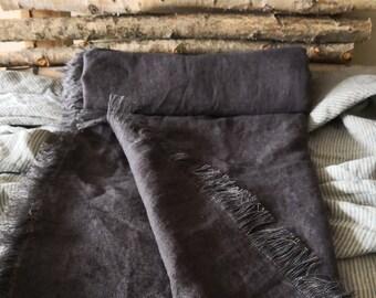 Natürliche Leinen Werfen. Dicke Leinen Decke. Handgefertigte  Leinen/Daybed Hülle. Vintage Inspirierte Leinen Werfen. Holzkohle  Bettdecke. Sofa Abdecken.