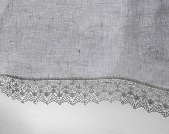 """WHITE CAFE curtain.Pure White Linen.with 1.5"""" wide lace /white kitchen curtain .linen cafe curtain.curtain with lace.linenvorhäng mit spitze"""
