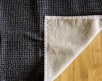 Bath mat.Waffle linen rug.Linen bath rug. Linen bath mat .organic bath mat.linen mat.Dark Grey/Double/Feet Massage mat/ linen mat/vegan rug