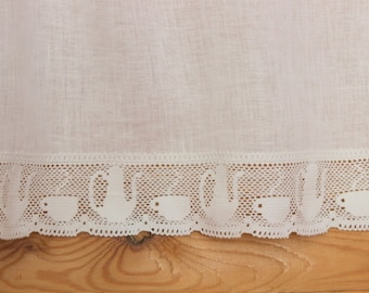 Flax Linen cafe curtains.Kitchen curtain with lace/Cafe curtains White/ linenvorhäng mit spitze.made by AnBerlinen