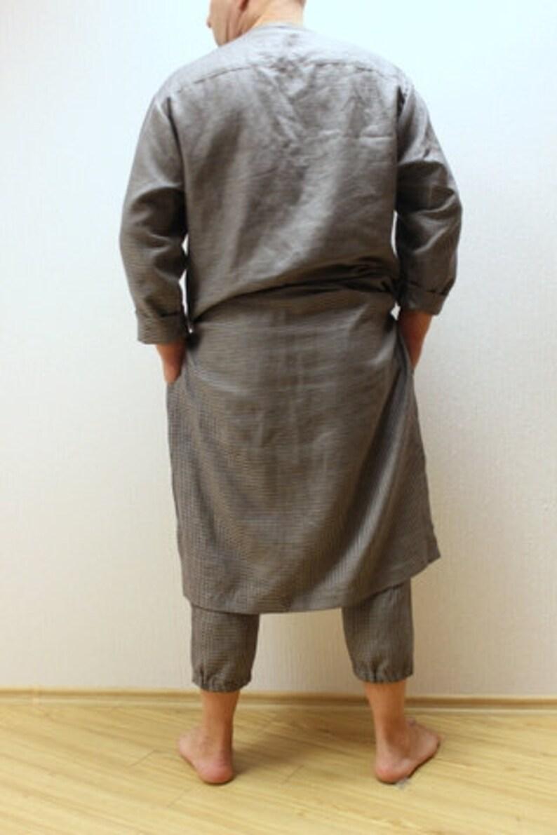 Linen caftan.Men s caftan.Linen shirt long.Lithuanian linen.Linen Loungewear .gift for him.designed and made by Anberlinen
