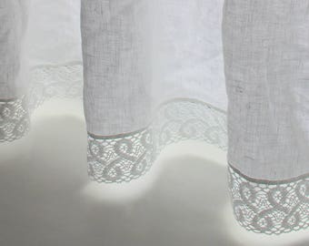 """WHITE CAFE curtain.Pure White Linen curtains/ with 2""""/5 cm wide linen lace /white kitchen curtain .linen cafe curtain.curtain with lace"""