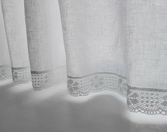 WHITE CAFE curtain.Pure White/Natural Linen curtains/ with 4 cm wide linen lace /white kitchen curtain .linen cafe curtain.curtain with lace