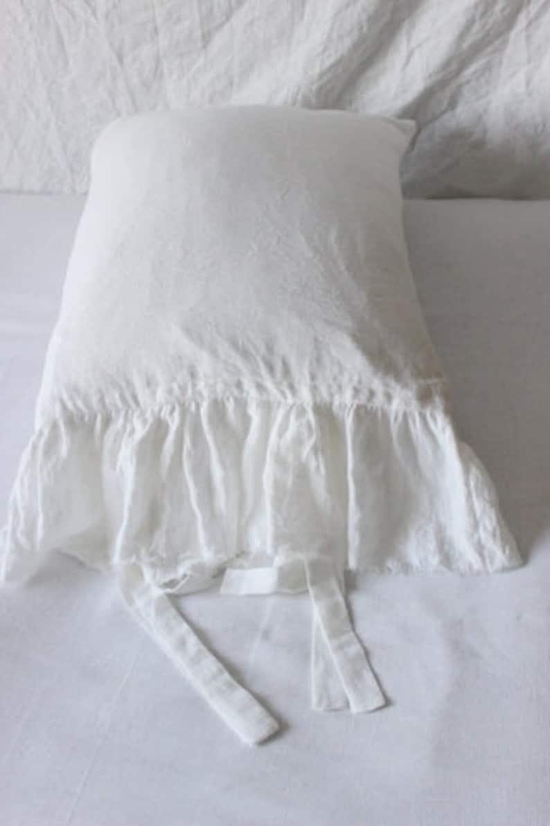 Frayed ruffle pillow chams linen shamsone side Ruffled pillowcaseLinen body pillow linen pillowcases