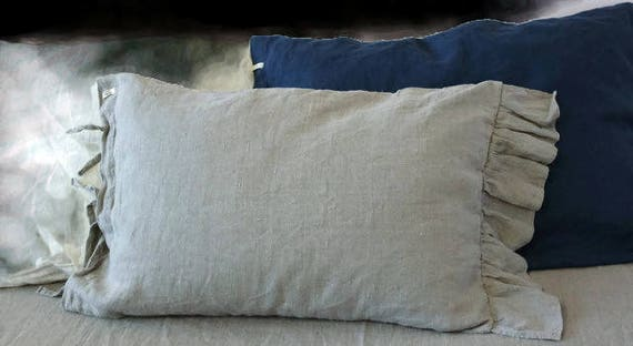 Linen Pillowcase Ties Stone Washed Soft