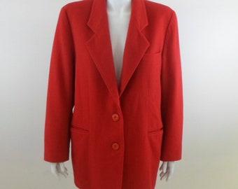 Vintage Italian HENRI BENDEL Red Wool Cashmere Blazer sz 10