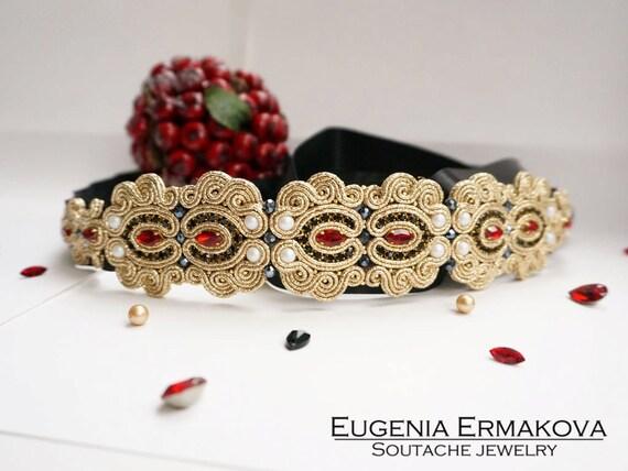 Accessori Da Bagno Con Swarovski : Cintura di soutache con cristalli swarovski accessori di etsy