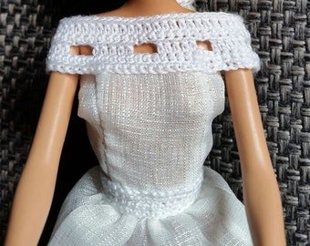 Handmade Barbie wedding dress. Full length, organza with cotton crocheted neckline. Matching cotton crocheted shoulder shawl + gown
