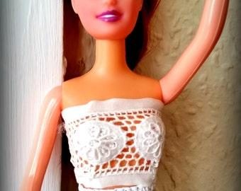 Abito barbie lungo estivo blu scuro viscosa con fiori bianchi - Barbie senza colore ...