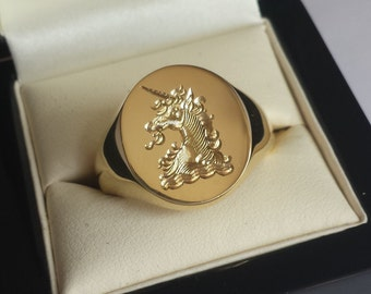 Silver, 9, 14 or 18ct Gold Signet Ring With Your Family Crest Hand Engraved For Show - Men's And Ladies Sizes