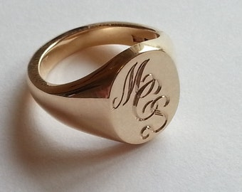 Silver, Gold or Platinum Hand Engraved Signet Ring With Your Initials (Monogram) Ladies & Mens Size Available