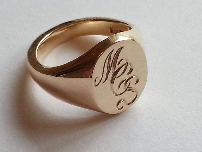 e6083e381d9a Plata oro o platino mano grabado anillo de sello con sus