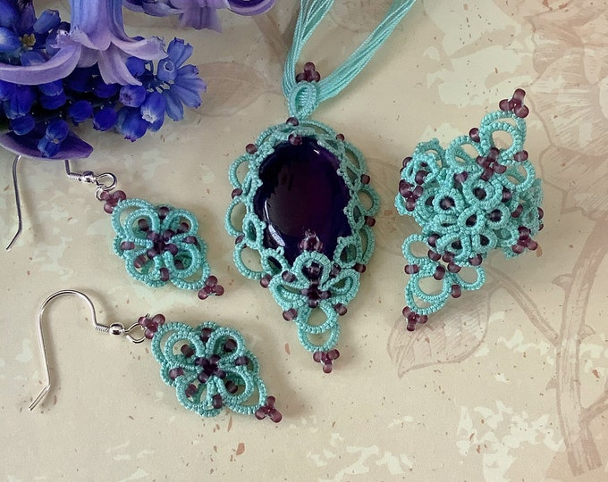 Amethyst, green and purple beaded lace jewelry set. Birthstone pendant, statement ring and dangle earrings in cotton lace. Anniversary gift