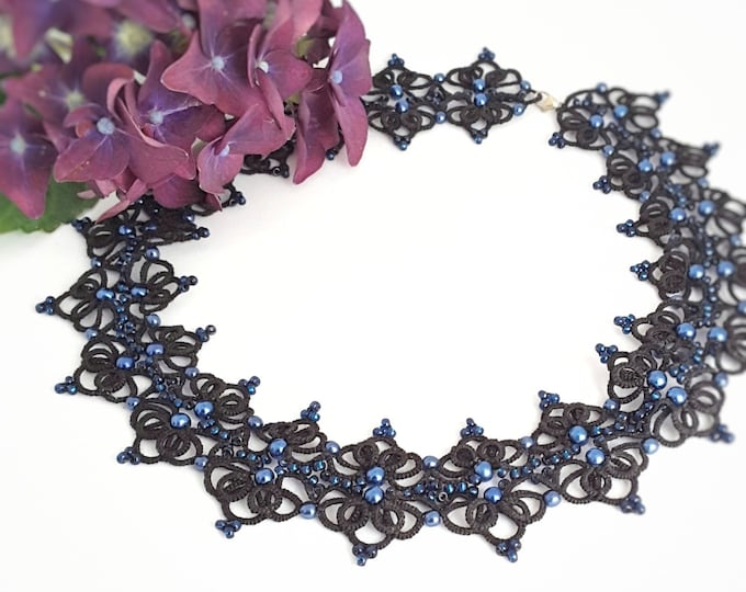 Black lace collar necklace with blue beads. Edwardian bib necklace with cotton tatting lace. Evening gift for her