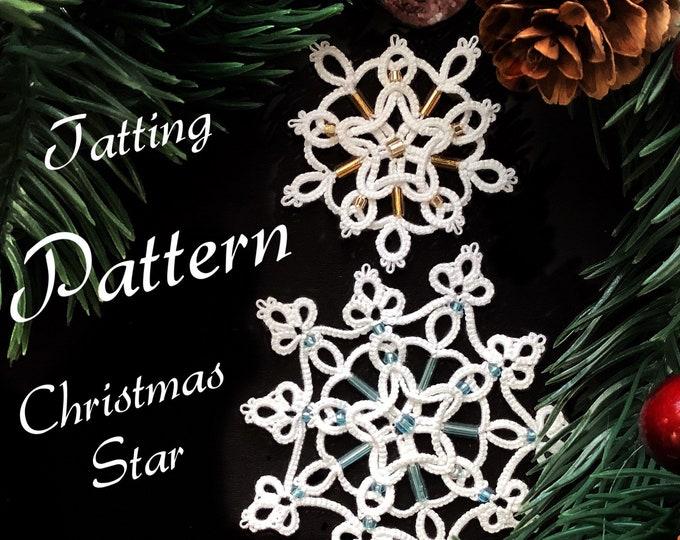 Christmas tree beaded star or snowflake tatting lace pattern. Shuttle tatting tutorial. Intermediate pattern in PDF to download.
