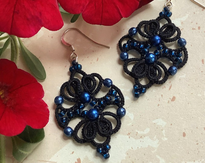 Elegant black lace beaded dangle earrings. Drop earrings with cotton tatting lace and blue glass and wax beads. Gift for her.